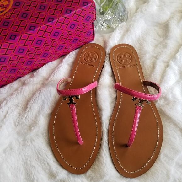 5cced3b847c1 Tory Burch Shoes - Tory Burch T-Logo Saffiano Thong Flat